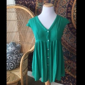 Vanessa and Virginia Green Ladder Lace Tunic